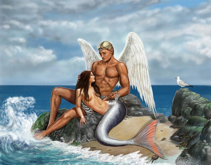Ангел с русалкой - Рисованные обои.