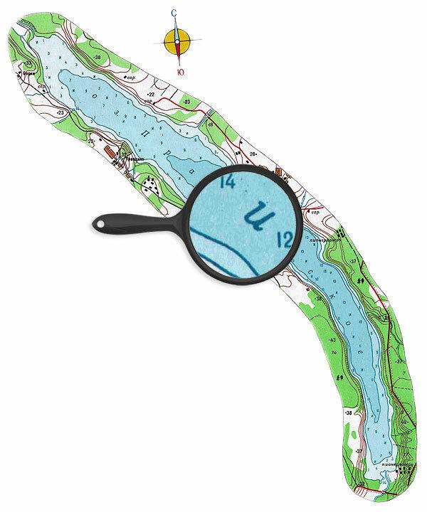 Карта глубин озера Правдинское