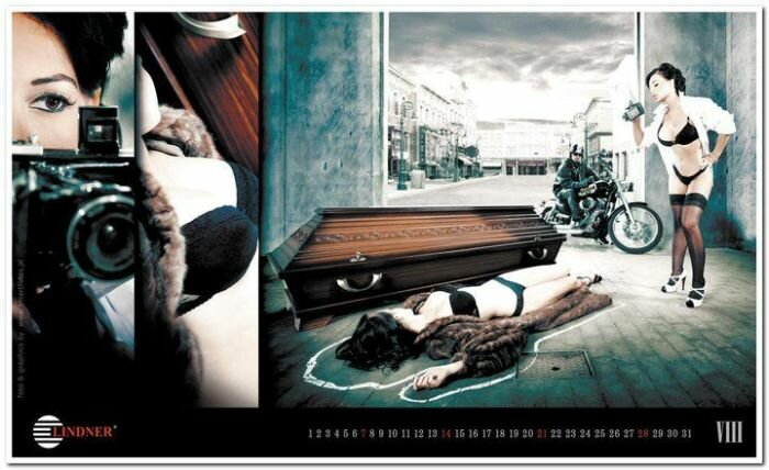 Рекламный календарь производителя элитных гробов