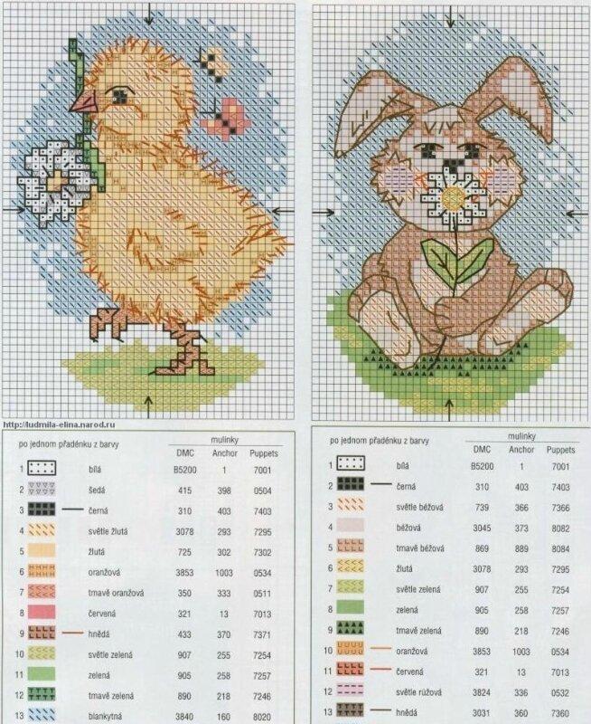 вышивка крестиком цыпленок заяц схема.