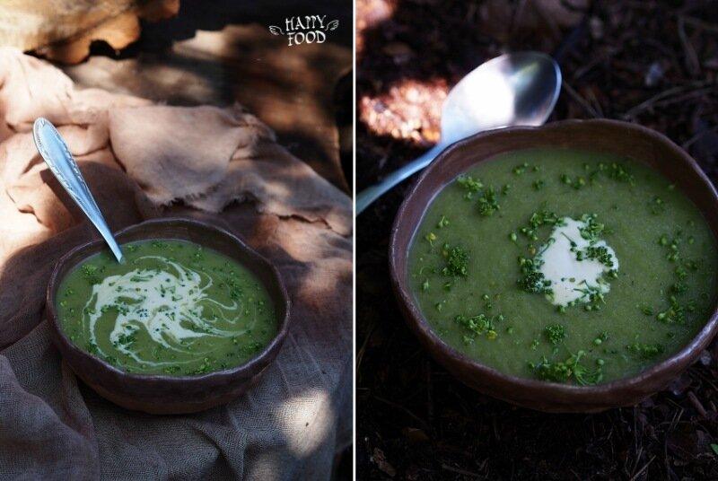 Суп пюре из брокколи с пореем и кабачком