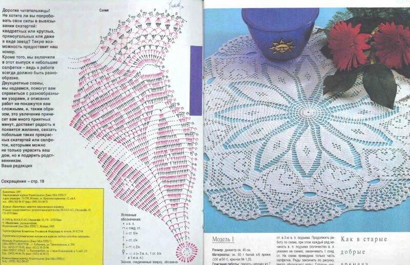 Вязание салфеток из журнала валя валентина 420