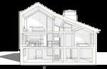 Разрез поперечный жилого дома по центральной лестнице