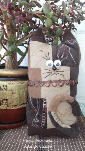 Котик из лоскутов, пэчворк, кот, шитье