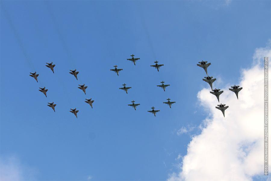 группа «100». 8 х МиГ-29смт, 8 х Су-25см, и 5 х Су-27смЗ. 100 лет ВВС