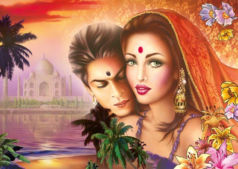 """Предпросмотр схемы вышивки  """"индийское кино """". индийское кино, индия, пара, любовь, кино,болливуд,кхан, предпросмотр."""