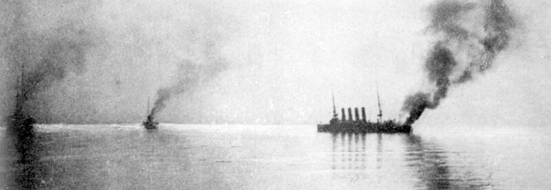 Russian Crusier Varyag on fire in Chemulpo Harbor, 1904.