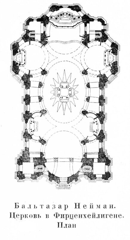 Церковь в Фирценхейлигене. Архитектор Бальтазар Нейман, план