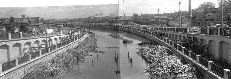 Вид с Госпитального моста. Строительство новых мостов и набережных на Яузе