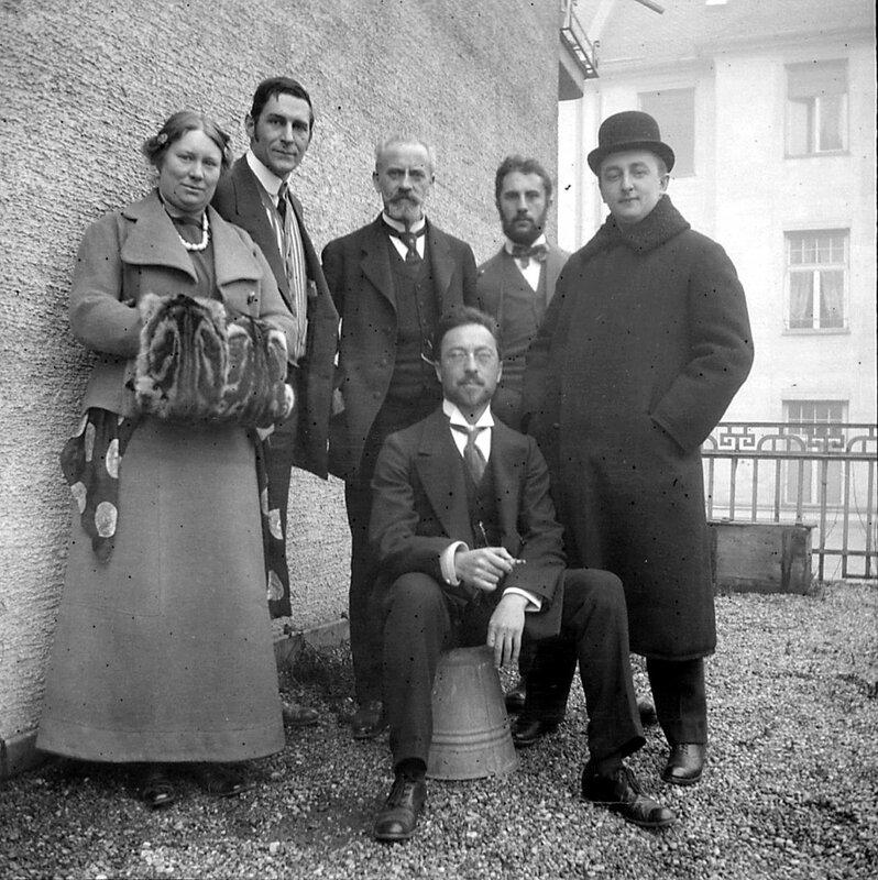 Maria and Franz Marc, Bernhard Koehler, Heinrich Campendonk, Thomas von Hartmann, and Wassily Kandinsky (sitting), Munich, 1911-12.