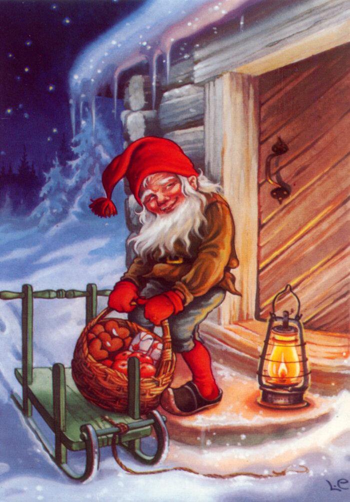 Новогодний гном открытка