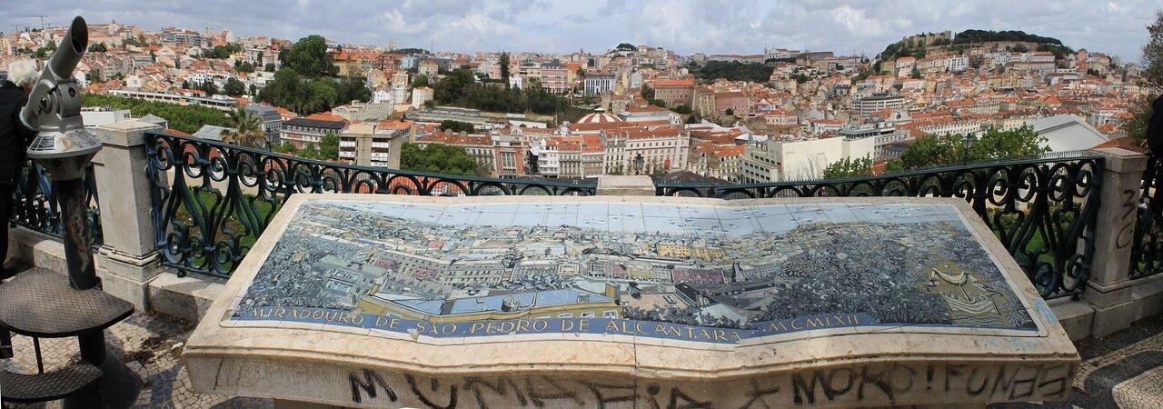 Лиссабон.  Сан Педру де Алкантара. керамическое панно.Miradouro de São Pedro de Alcântara. panorama