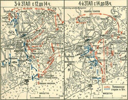 3 и 4 этап Бородинского сражения с 12 до 18 часов.