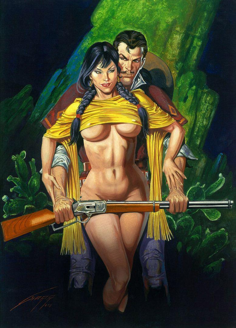 Горячие женщины - Рисунки художника Рафаэля Галлура / Rafael Gallur pictures - A Woman, a Man and a Winchester