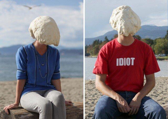 Портреты людей с тестом на голове