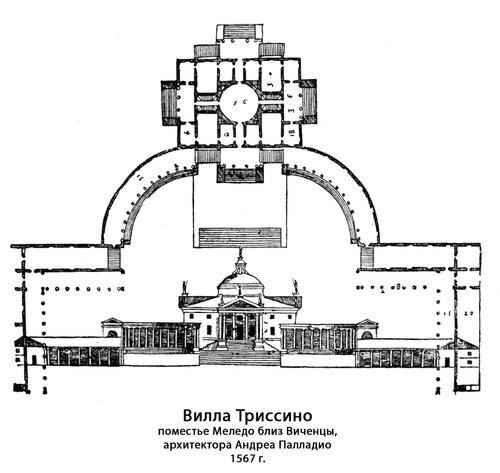 Вилла Триссино, архитектор Андреа Палладио, чертежи