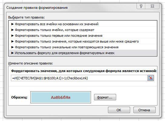 Рис. 2.7. Диалоговое окно с формулой условного форматирования диапазона и выделения повторяющихся данных
