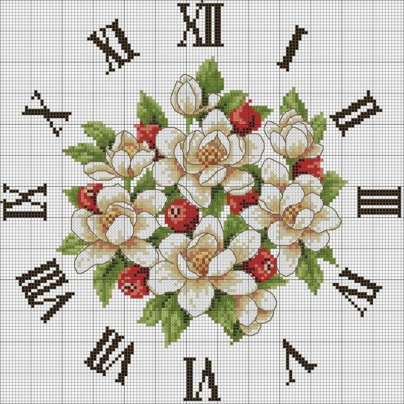 вышивка крестом часы схемы.