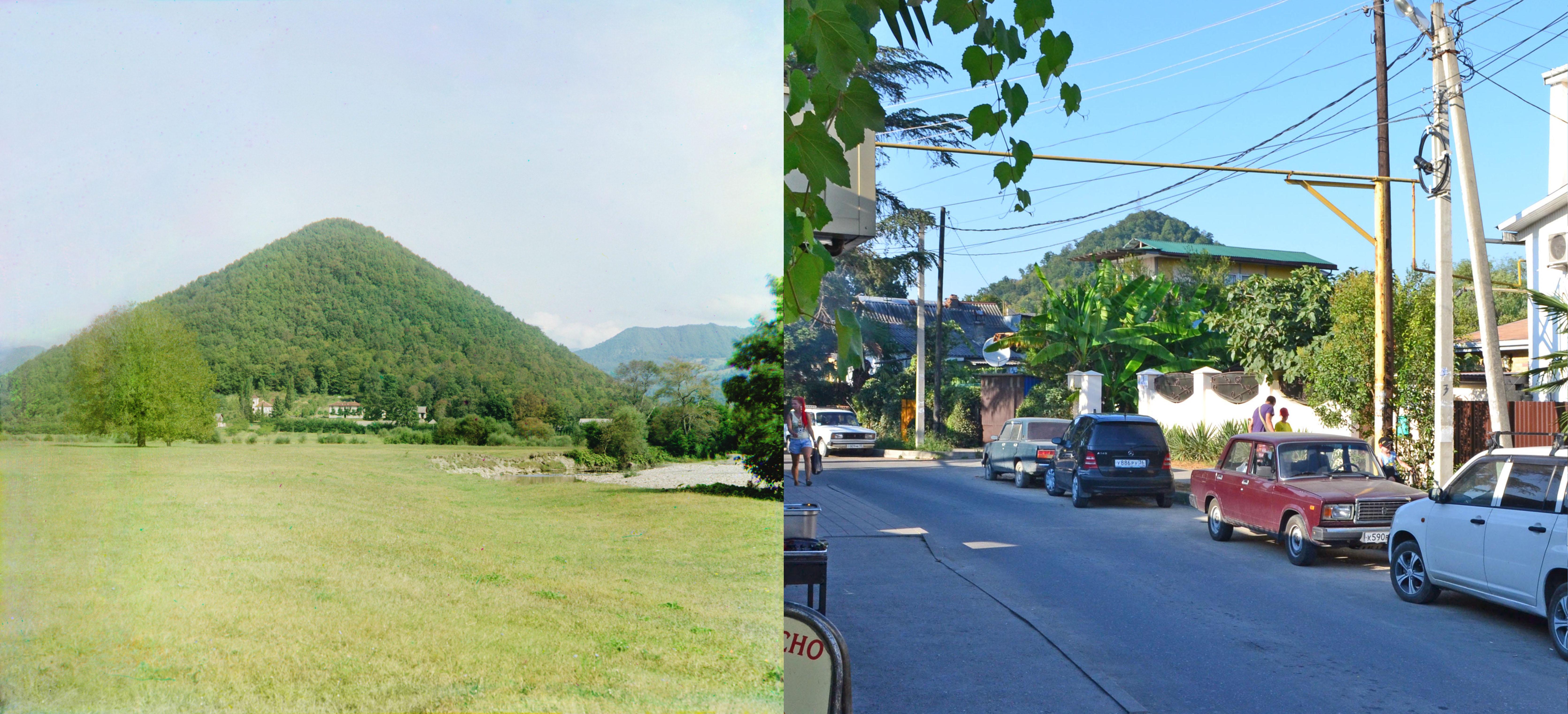 Гора Успенского в Дагомысе в 1912 и 2015 годах