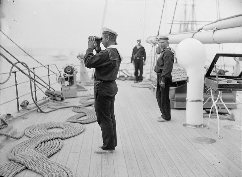 On the deck of a Russian vessel docked in America, 1893