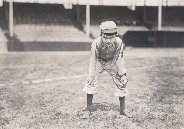 Frank DeHaas Britton, son of Cardinals owner Helene Britton, at Robison Field. Photograph by William H. Trefts, Jr, 1912. Missouri History Museum Photographs and Prints Collections. William Trefts Collection. n29607.