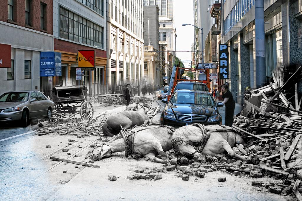 Слияние времен на одной фотографии. Shawn Clover, Сан-Франциско