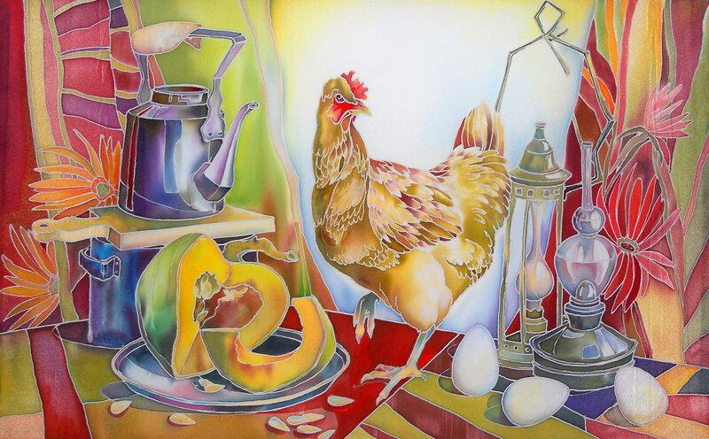 Натюрморт с курицей и тыквой.