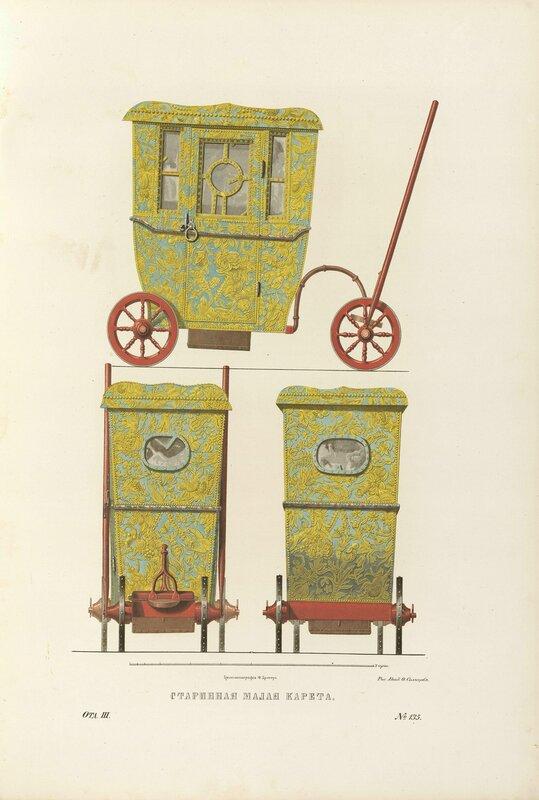 Хранящиеся в Оружейной палате изображенные на рисунках два маленьких возка, один на колесах, другой на полозьях...
