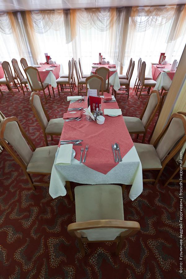 Ресторан в кормовой части главной палубы фотография теплоход Михаил Фрунзе
