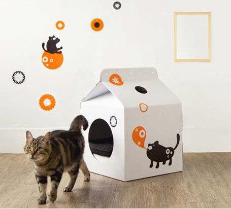 Кошкин дом из картонной коробки