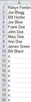 Рис. 2.25. Список с формулой, добавленной в строки А11:А20