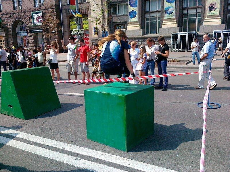 Паркур на Крещатике в День Незалежности 2012
