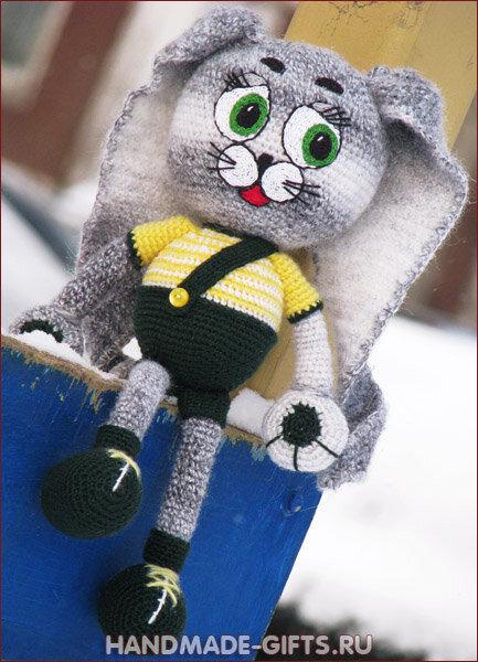 вязаный заяц, вязаные игрушки, интурнет магазин подарки ручной работы. вязаный заяц купить.