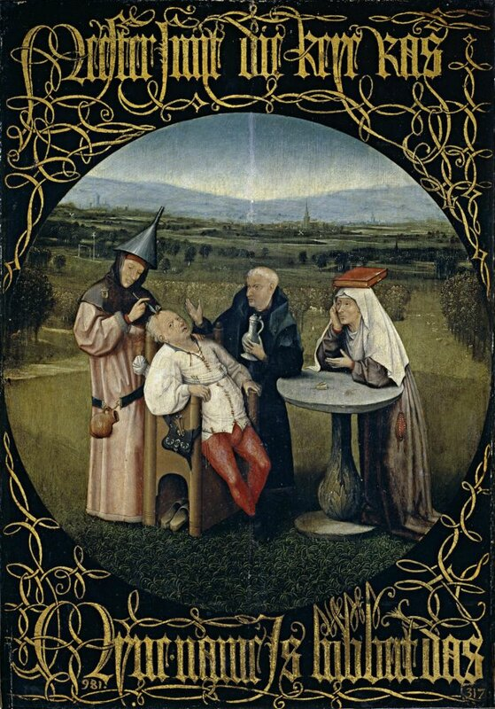 Босх,  Извлечение камня глупости (Операция глупости),1475—1480  The Extraction of the Stone of Madness