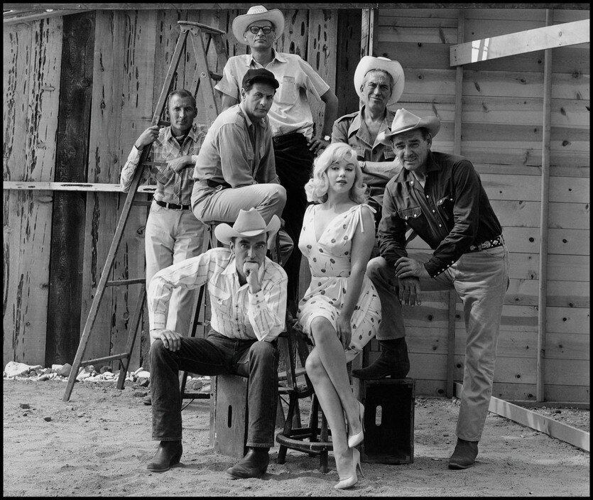 USA. Reno, Nevada. 1960. Film set of The Misfits by John HUSTON, with US actors Marilyn MONROE, Clark GABLE, Montgomery CLIFT and Eli WALLACH and writer Arthur MILLER.jpg