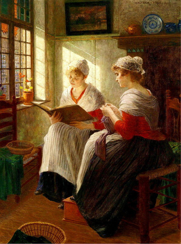 Walther Firle (1859-1929) - Две девушки у окна -  Two Girls by the Window