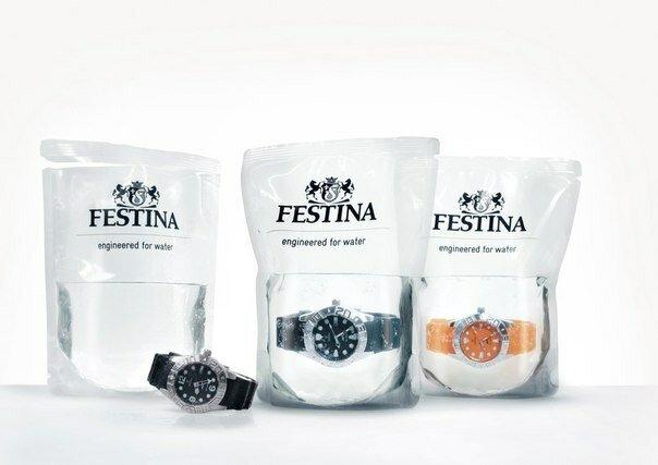 Швейцарские водонепроницаемые часы Festina продаются в пакете с водой