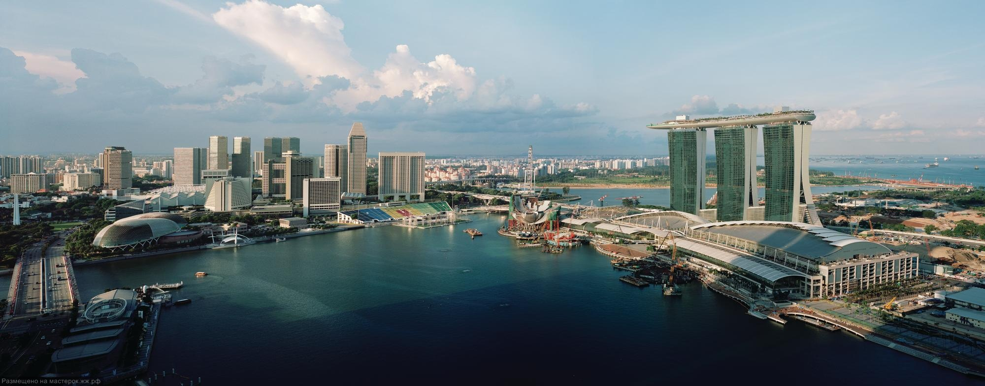 The Marina Bay Sands complex brings a taste of Las Vegas to Singapore. Three 55-story hotel towers are topped by a skypark that culminates in a 213-foot-long cantilever—the signature move in a 38-acre complex that also includes a casino, a retail complex,