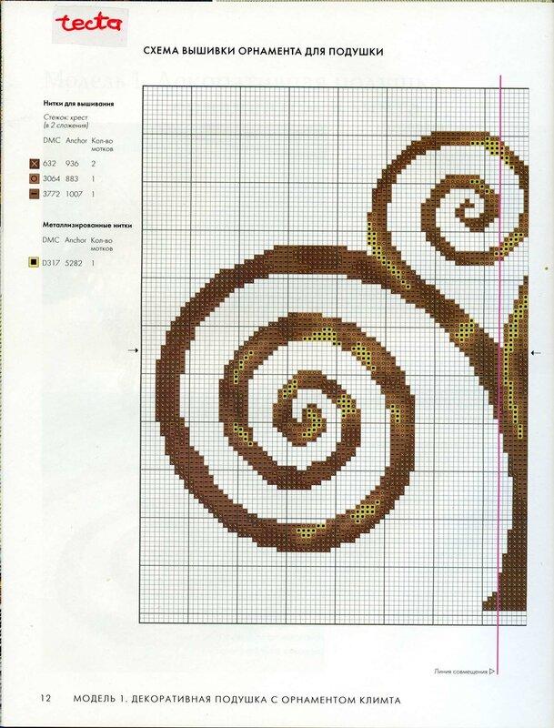 схема вышивки крестиком на подушке. схема орнамента для вышивки.