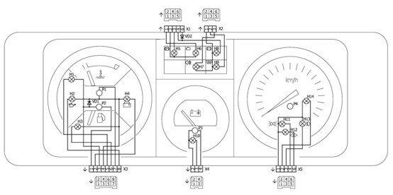 Схема электрических соединений щитка приборов 21074. комбинация приборов с... Назначение контактов колодок щитка...