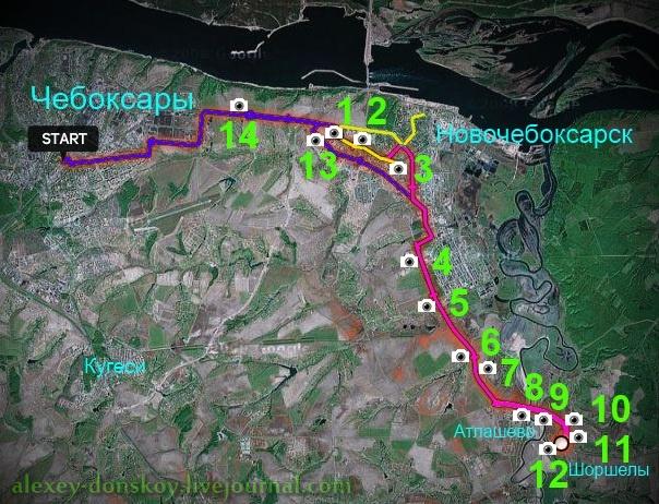 Трек велопробега в Шоршелы