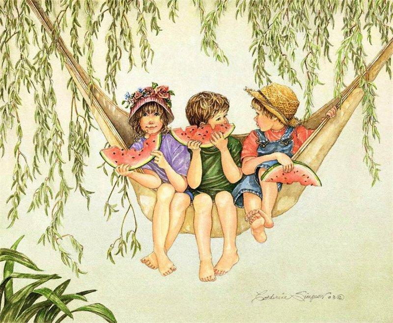 Цветами, открытки из нашего детства художник