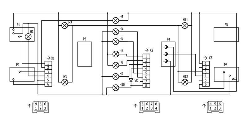 Схема электрических соединений щитка приборов на ВАЗ 2107.