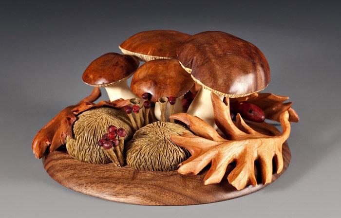 грибы из дерева
