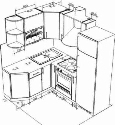 Кухонный гарнитур чертежи и