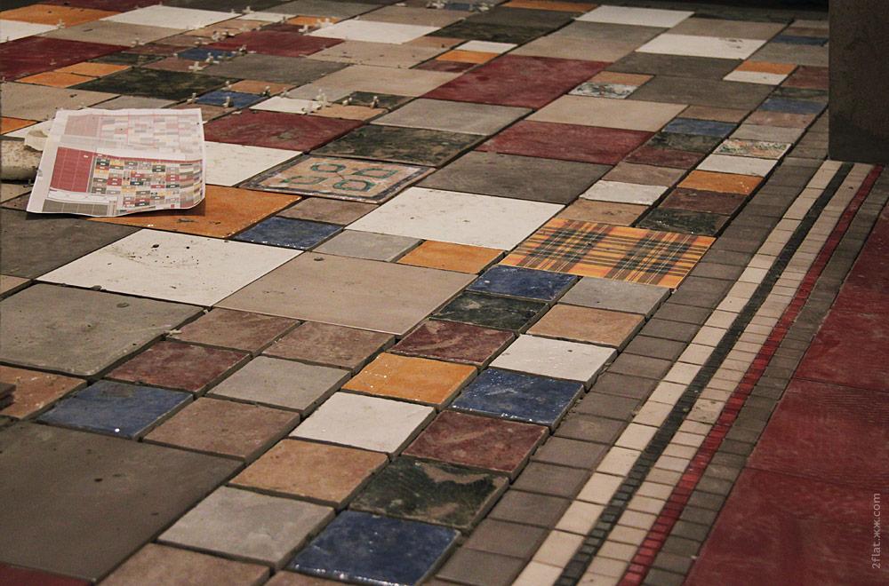 Как красиво сделать пол из разной плитки