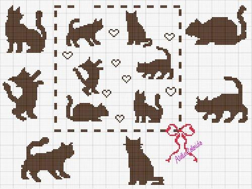 Вязание филейное схемы коты 72