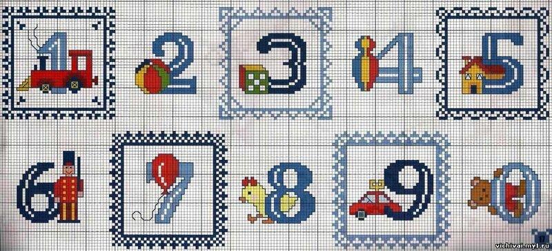 Схема вышивки чисел крестиком 55