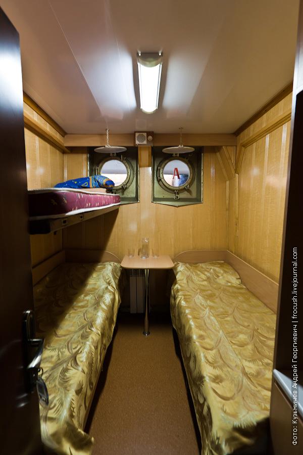 Трехместная ярусная каюта №2 на нижней палубе теплоход Иван Кулибин