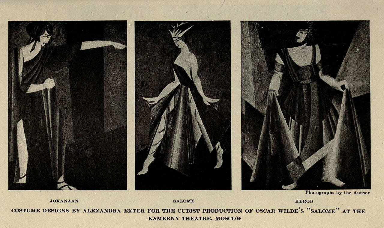 Cubist costumes designed by Aleksandra Ekster (1882-1949) for Alexander Tairov,Wilde's play Salome.1917, Kamerny Theatre, Moscow
